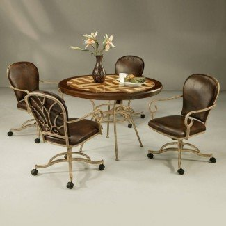 Muebles. Sillas de comedor de metal marrón con ruedas y ...