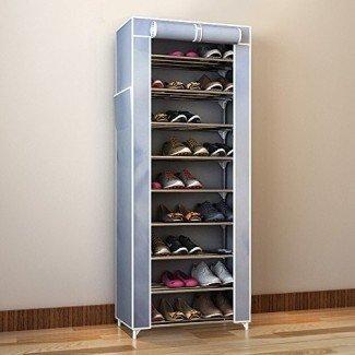 Organizador de zapatos Estante de torre de zapatos de 10 niveles con tapa Organizador de almacenamiento de zapatos de ahorro de espacio de 27 pares Gris [19659014] Diseño vintage para un estante organizador de zapatos alto con diez estantes, que proporcionan una gran capacidad de almacenamiento. El organizador de zapatos está cubierto con una tela gris y tiene una cubierta en la parte superior que le permite ocultar fácilmente los zapatos. </div> </p></div> <div class=