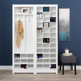 Prepac Space Saving 36 Cubby Shoe Storage Cabinet in White