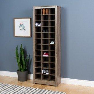 Gabinete de almacenamiento de zapatos que ahorra espacio Gris derivado - Prepac ...