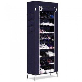 Organizador de zapateros, bastidor de torre de zapatos de 10 niveles con tapa Almacenamiento de zapatos de 27 pares para ahorrar espacio (US STOCK)