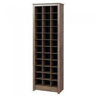 Gabinete de almacenamiento de calzado que ahorra espacio de Prepac en gris derivado