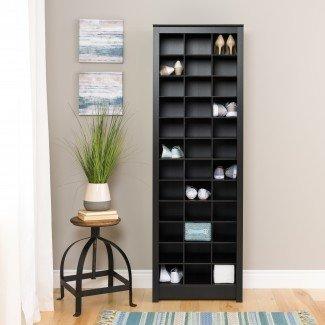 Gabinete de almacenamiento de calzado de ahorro de espacio Prepac, negro