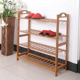 Estante de almacenamiento de zapatos de madera de 4 niveles con ahorro de espacio - Yugster