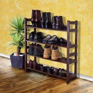 Estante de almacenamiento de zapatos Organizador de armario de madera Zapatos Ahorro de espacio ...