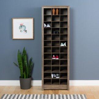 Gabinete de almacenamiento de zapatos que ahorra espacio en Prepac, gris derivado