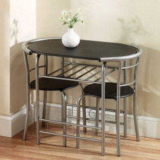 Preciosa mesa de comedor y sillas redondas que ahorran espacio - Luz