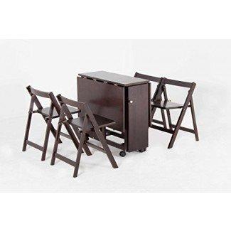 """Oliver Smith - 4 personas 48 """"x 32"""" - Madera maciza - Juego de mesa de hojas abatibles para ahorrar espacio - Juego de 5 piezas - 1 mesa - 4 sillas plegables - Espresso - sw707crs"""