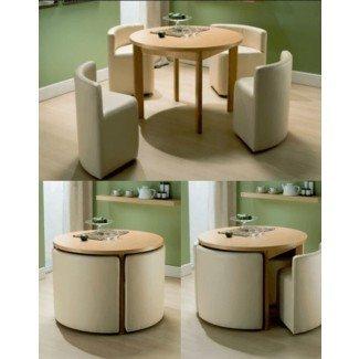 Mesa de comedor y sillas redondas para casas pequeñas