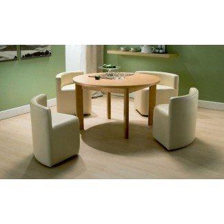Muebles. Mesa y sillas de madera marrones para ahorrar espacio con ...