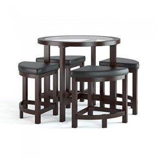 CorLiving DBG-699-K Belgrove Dark Espresso - Mesa de comedor teñida con 4 taburetes