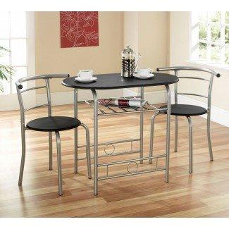 Muebles. Mesa redonda de madera marrón para ahorrar espacio y curvas ...