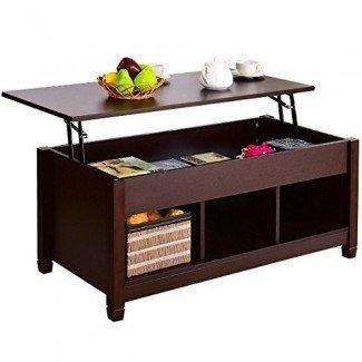 Tangkula Lift Top Coffee Table Muebles de sala de estar modernos con compartimento oculto y mesa elevadora
