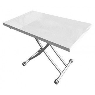 Corner Housewares Transforming X Coffee and Dining Table en High Gloss White Finish
