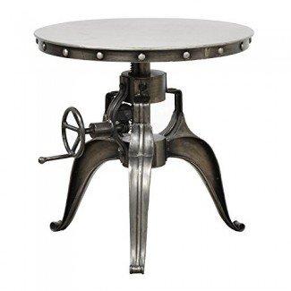 La mesa de centro Bistro de acento con manivela industrial ajustable incluye nuestra exclusiva almohadilla para mouse