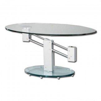 Mesa de centro de vidrio oval de altura ajustable | Buy Glass ...