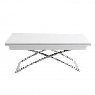 Mesa de centro rectangular blanca de altura ajustable Ikea con ...