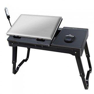 Mesa portátil portátil multifuncional iMounTEK (almohadilla de enfriamiento interno, lámpara de escritorio LED, concentrador USB de 4 puertos incorporado, soporte para escritorio de regazo, alfombrilla de ratón, cómoda, compatible con cama / sofá / silla) - Negro