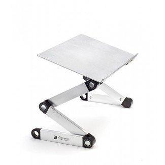 Portátil ajustable de aluminio Soporte para computadora portátil / Escritorio / Mesa Portátil Macbook TV ergonómica Cama Bandeja de cama de pie Sentado - Plateado