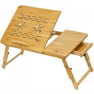 Mesa de escritorio ajustable para computadora portátil de bambú, escritorio ajustable de bambú natural [100% Organic] para mesa de computadora portátil / escritorio de lectura / bandeja de cama para desayuno con cajón superior inclinable