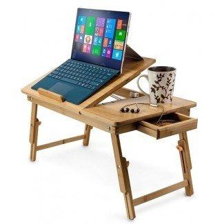 Soporte para computadora portátil ajustable de bambú natural Aleratec de hasta 15 pulgadas ...