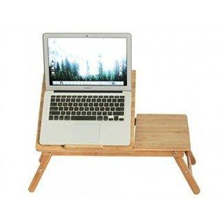 Bandeja de servicio para cama de escritorio para computadora portátil Mesa de desayuno ajustable de bambú plegable portátil con cajón Por BAMBUROBA