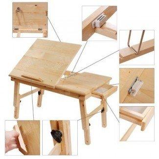 Mesa para computadora portátil plegable de madera maciza para computadora portátil, ajustable ...