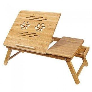 SONGMICS Bamboo Laptop Desk Bandeja para cama Bandeja inclinable ULLD001