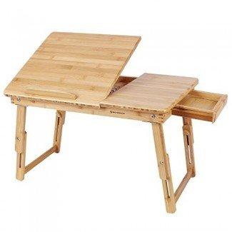 SONGMICS Bamboo Lap Desk Bandeja ajustable para servir el desayuno Bandeja de la cama Cajón basculante