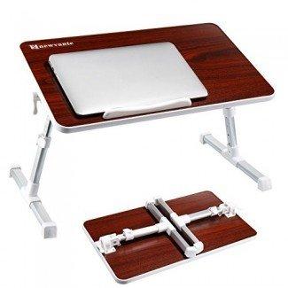 NNEWVANTE Mesa ajustable para laptop para cama, Escritorio de cama portátil, Bandeja de desayuno para sofá plegable, Soporte para portátil Soporte de lectura para sofá de piso-nogal