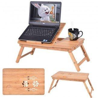 Mesa de escritorio plegable portátil de bambú Mesa de desayuno cama plegable ...