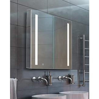 Botiquín de baño, aluminio, empotrado / montaje en superficie, bisagra izquierda, espejo con 2 tiras LED