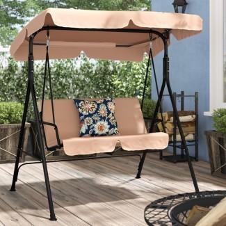 Columpio de porche con hamaca y dosel para patio con soporte
