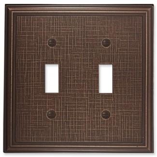 Cubierta del interruptor de luz de doble palanca metálica con textura de lino