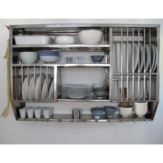 Estantes de cocina de acero inoxidable montados en la pared de atractivo ...