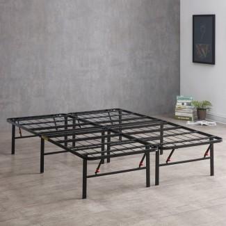 Hiett Platform Bed Frame [19659012] Estructura de cama de plataforma resistente hecha de un metal fuerte. El marco también está disponible en una amplia variedad de tamaños y viene con un diseño plegable para una fácil portabilidad. También es compatible con cualquier soporte de cabecero y la mayoría de los colchones de espuma viscoelástica. </div> </p></div> <div class=