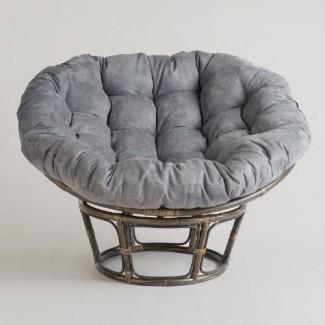 Cojín de silla Papasan de micro gamuza color carbón | Mercado mundial