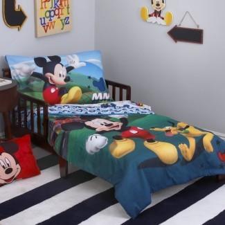 Juego de ropa de cama para niños pequeños Mickey Mouse Playhouse de 4 piezas