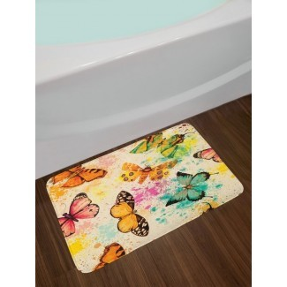 Mariposa Acuarela Mariposas sucias con salpicaduras de color Sé consciente Boho Lámina Peluche antideslizante Alfombra de baño