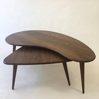 Nesting Kidney Bean + Guitar Pick Coffee Tables - Mid-Century Modern - Atomic Era Design In Solid Walnut con patas afiladas de nogal macizo