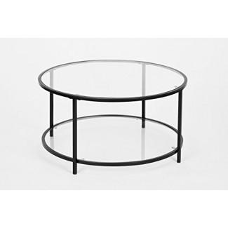 Mesa de centro redonda moderna de vidrio con acabado negro de 2 niveles
