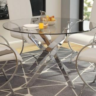 """Felisha Dining Table [19659010] Mesa de comedor Felisha </b><br /> Una combinación de la parte superior de vidrio transparente simple con una base de pedestal reluciente y de aspecto lujoso hace de esta mesa de comedor una opción adecuada para entornos de negocios formales. Con un diámetro de 47 """", tiene capacidad para cuatro personas cómodamente. </div> </p></div> <div class="""