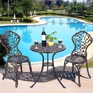 Nuevo Juego de bistro para muebles de patio al aire libre Conjunto de bistro de aluminio fundido Cobre antiguo