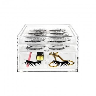 Soporte para pestañas postizas acrílicas y almacenamiento de herramientas de maquillaje