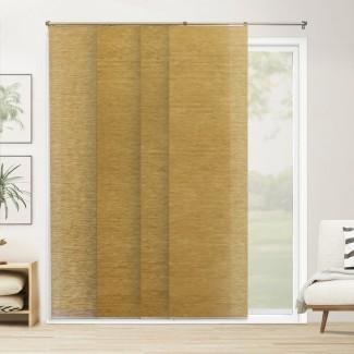 """Paneles deslizantes ajustables de primera calidad, persianas verticales cortadas a medida, Carlisle Saffron (tejido natural, tela que oscurece la habitación) - Hasta 80 """"WX 96 """"H"""