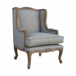Brazo de ala gris tapizado de país francés Silla