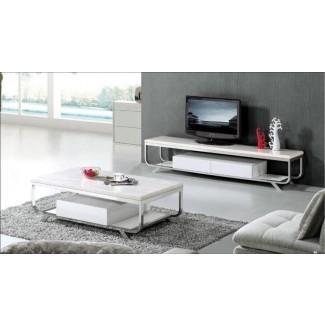 Sala de estar: glamorosa base de TV y mesa de centro a juego ...
