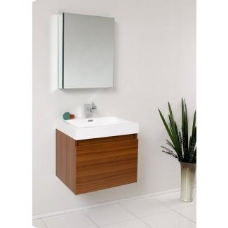 """Senza - Juego de tocador de baño individual de pared, 24 """"con espejo"""