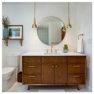 30 ideas modernas de diseño de baño moderno de mediados de siglo ...