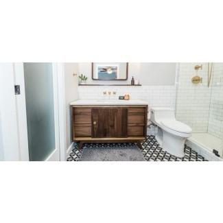 Cuarto de baño moderno de mediados de siglo antes y después - Irwin Construction
